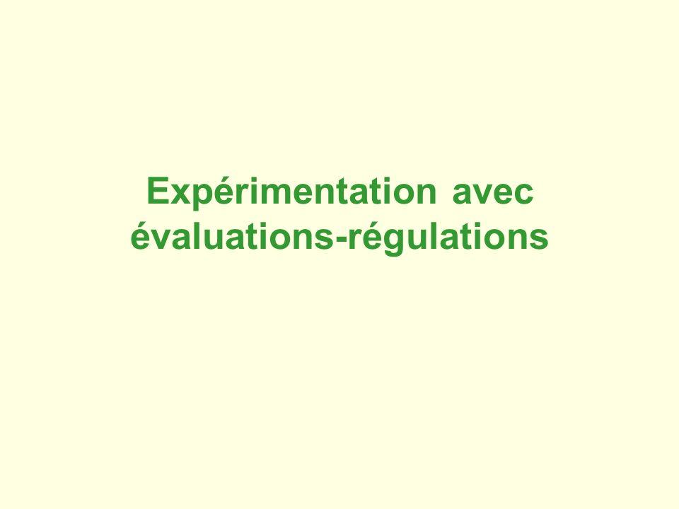 Expérimentation avec évaluations-régulations