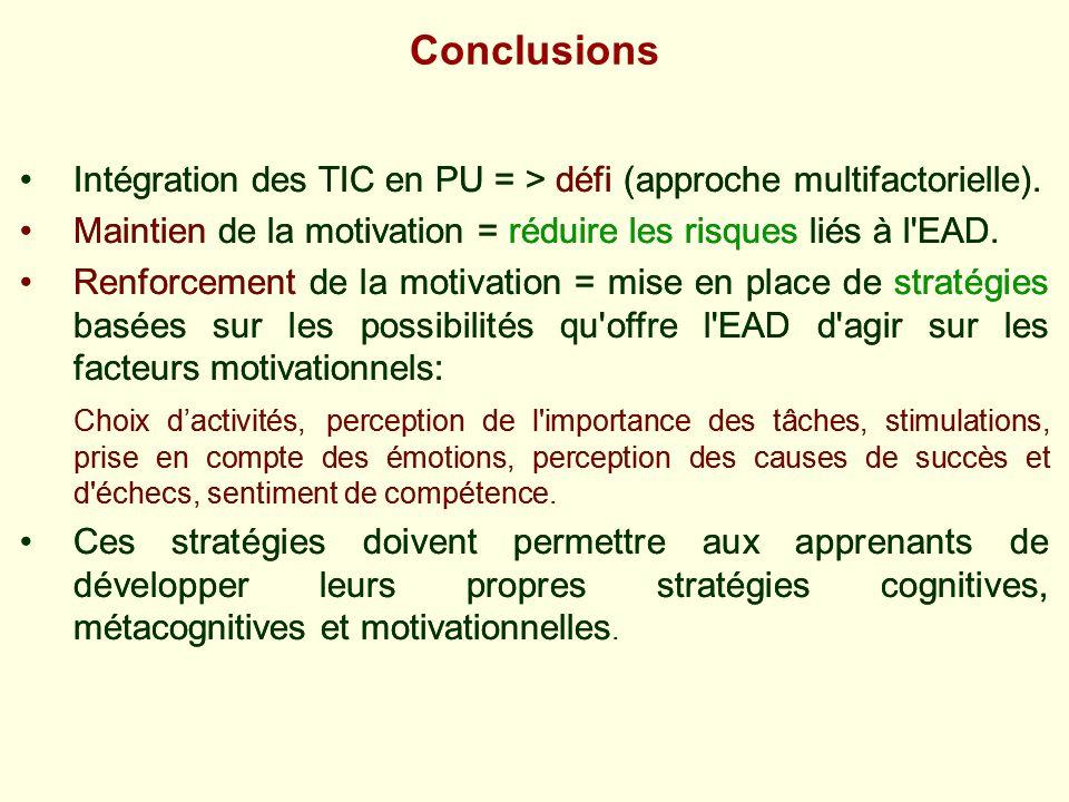 Intégration des TIC en PU = > défi (approche multifactorielle). Maintien de la motivation = réduire les risques liés à l'EAD. Renforcement de la motiv