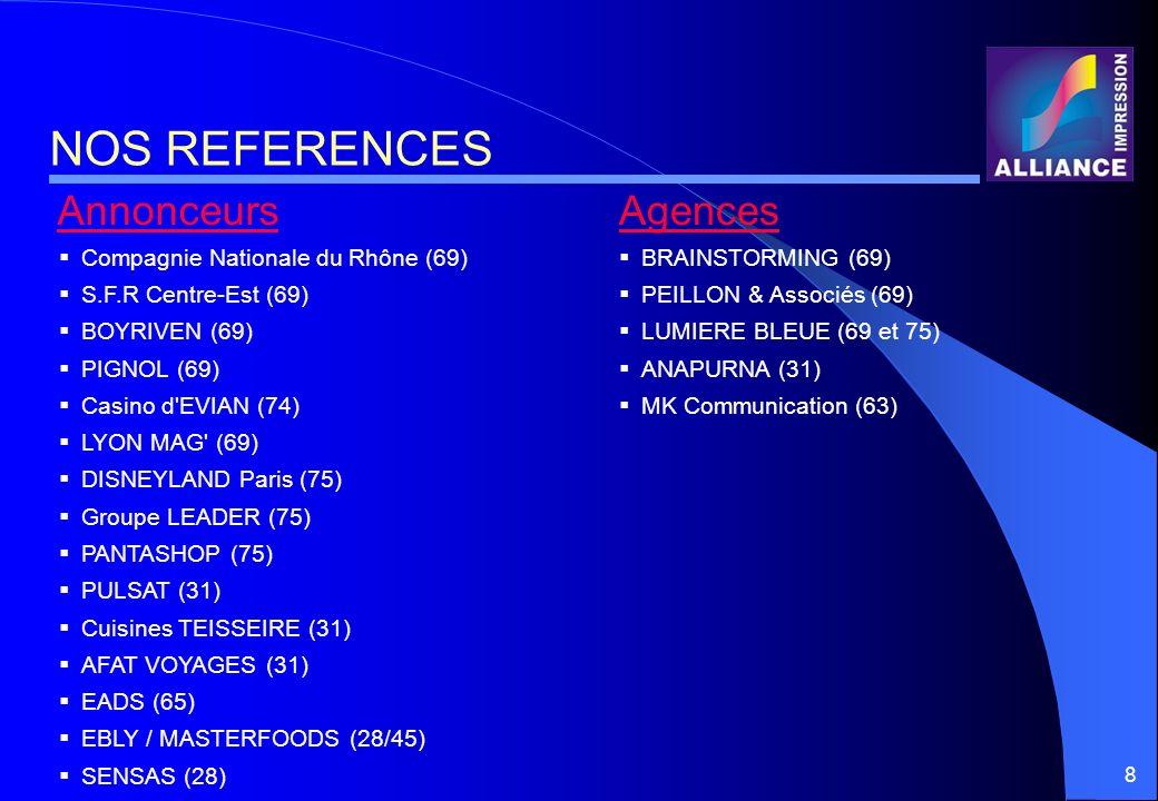 8 NOS REFERENCES BRAINSTORMING (69) PEILLON & Associés (69) LUMIERE BLEUE (69 et 75) ANAPURNA (31) MK Communication (63) AgencesAnnonceurs Compagnie N