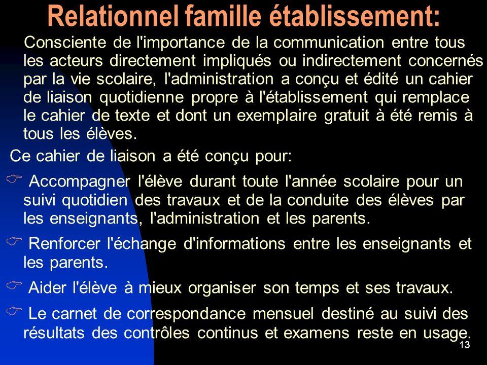 13 Relationnel famille établissement: Consciente de l'importance de la communication entre tous les acteurs directement impliqués ou indirectement con
