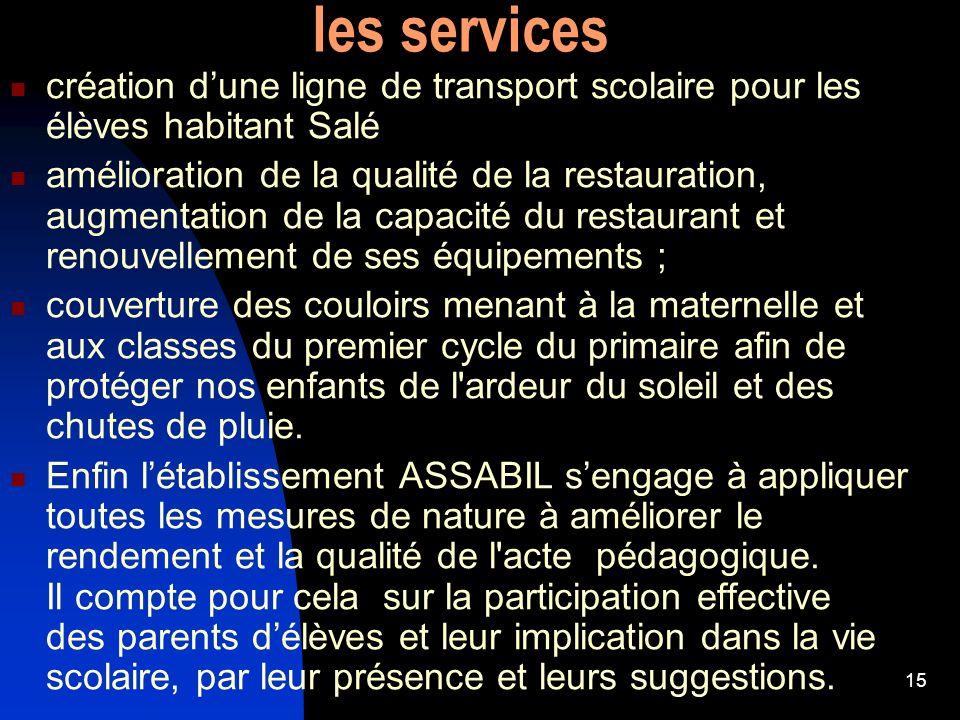 15 les services création dune ligne de transport scolaire pour les élèves habitant Salé amélioration de la qualité de la restauration, augmentation de