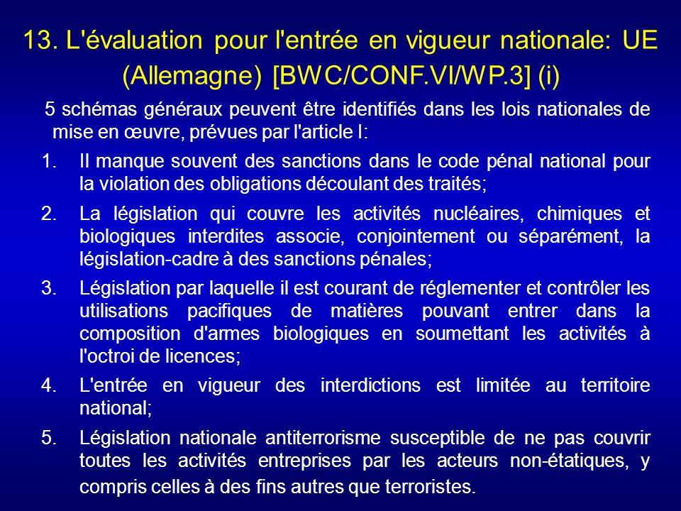 13. L'évaluation pour l'entrée en vigueur nationale: UE (Allemagne) [BWC/CONF.VI/WP.3] (i) 5 schémas généraux peuvent être identifiés dans les lois na