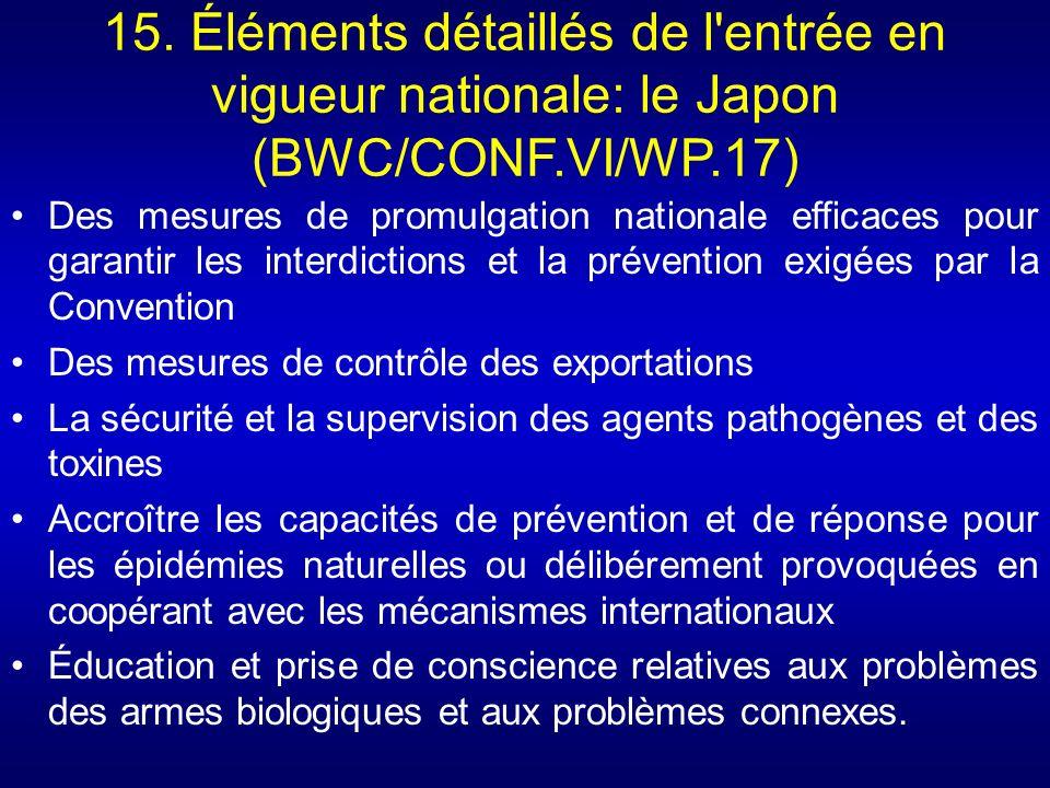 15. Éléments détaillés de l'entrée en vigueur nationale: le Japon (BWC/CONF.VI/WP.17) Des mesures de promulgation nationale efficaces pour garantir le