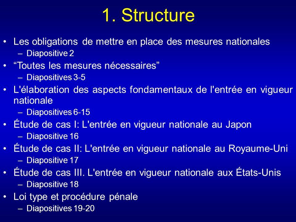 1. Structure Les obligations de mettre en place des mesures nationales –Diapositive 2 Toutes les mesures nécessaires –Diapositives 3-5 L'élaboration d