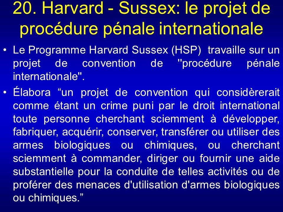 Le Programme Harvard Sussex (HSP) travaille sur un projet de convention de ''procédure pénale internationale''. Élabora un projet de convention qui co