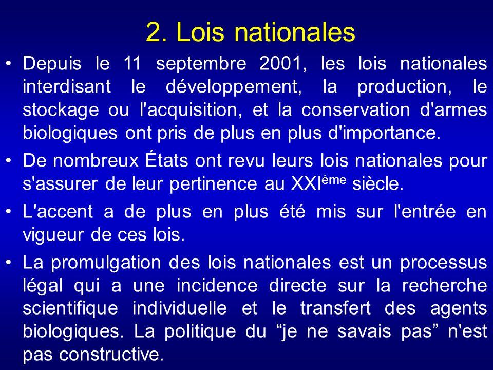2. Lois nationales Depuis le 11 septembre 2001, les lois nationales interdisant le développement, la production, le stockage ou l'acquisition, et la c