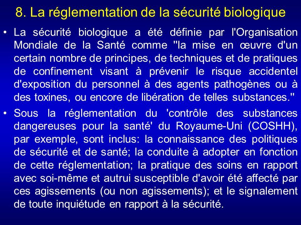 8. La réglementation de la sécurité biologique La sécurité biologique a été définie par l'Organisation Mondiale de la Santé comme ''la mise en œuvre d