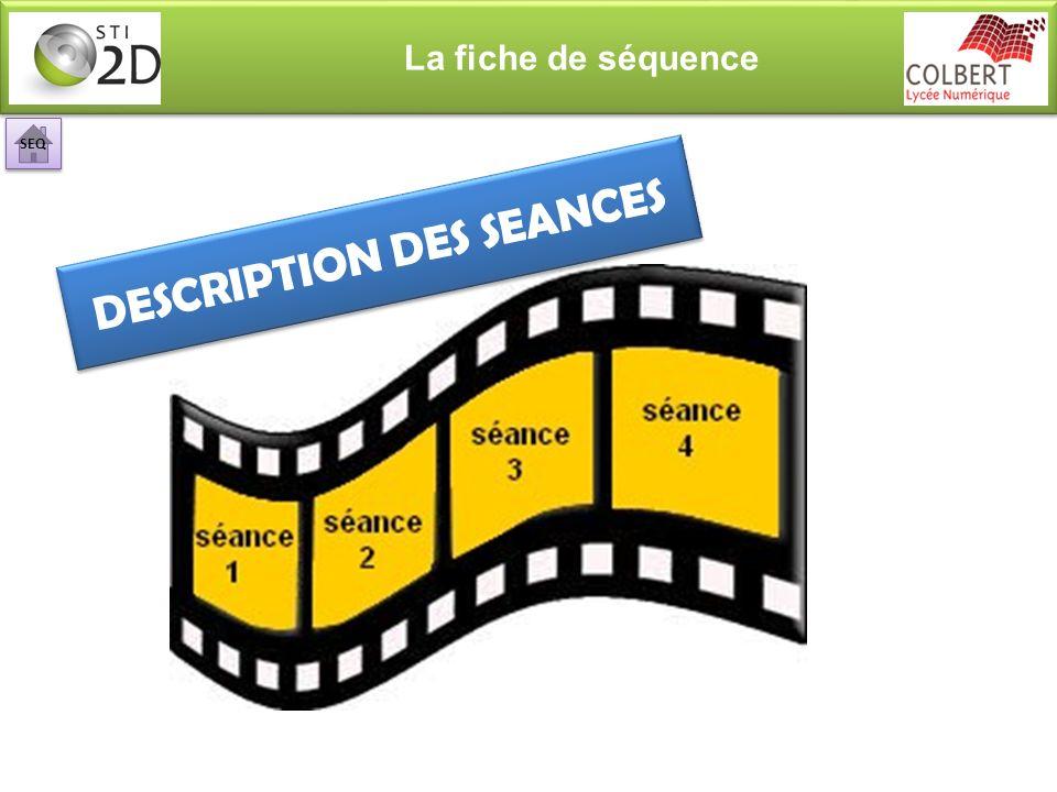 La fiche de séquence DESCRIPTION DES SEANCES SEQ
