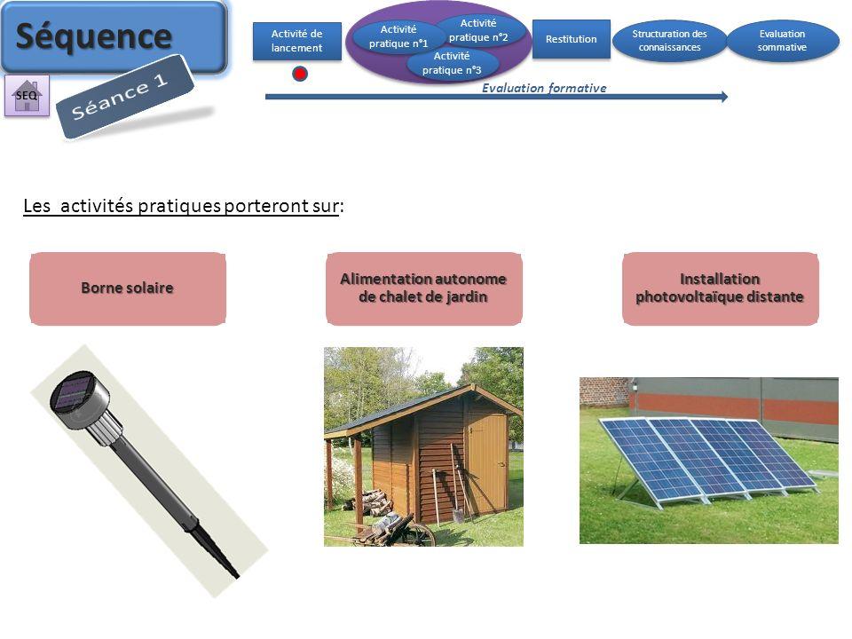 Borne solaire Alimentation autonome de chalet de jardin Installation photovoltaïque distante Les activités pratiques porteront sur: Activité de lancem