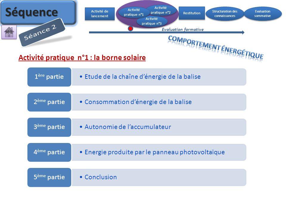 Activité pratique n°1 : la borne solaire Etude de la chaîne dénergie de la balise 1 ère partie Consommation dénergie de la balise 2 ème partie Autonom