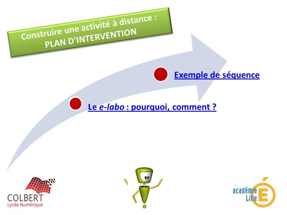 Construire une activité à distance : PLAN DINTERVENTION Construire une activité à distance : PLAN DINTERVENTION Le e-labo : pourquoi, comment ? Exempl