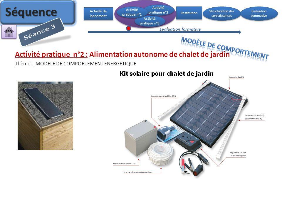 Activité pratique n°2 : Alimentation autonome de chalet de jardin Thème : MODELE DE COMPORTEMENT ENERGETIQUE Activité de lancement Activité pratique n