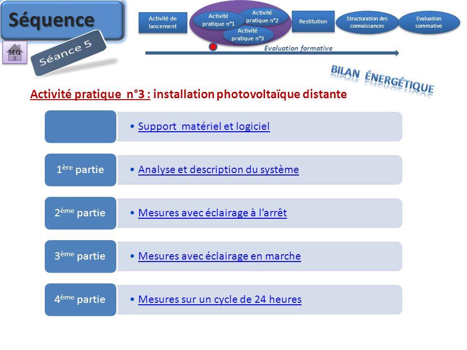 Activité pratique n°3 : installation photovoltaïque distante Support matériel et logiciel Analyse et description du système 1 ère partie Mesures avec