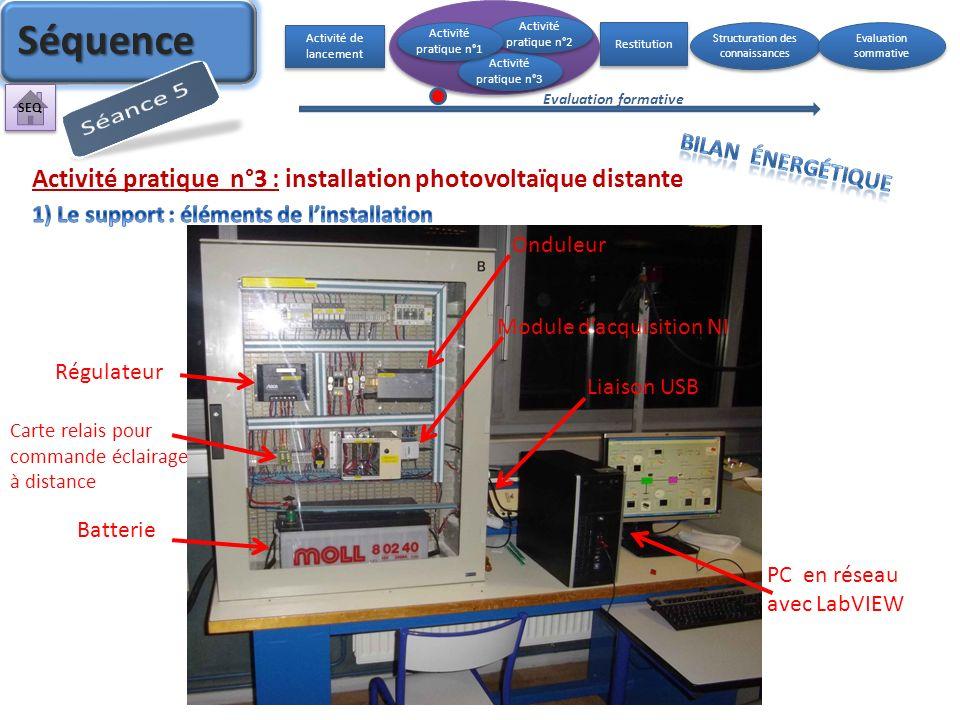 Activité pratique n°3 : installation photovoltaïque distante Régulateur Batterie Onduleur Module dacquisition NI PC en réseau avec LabVIEW Liaison USB