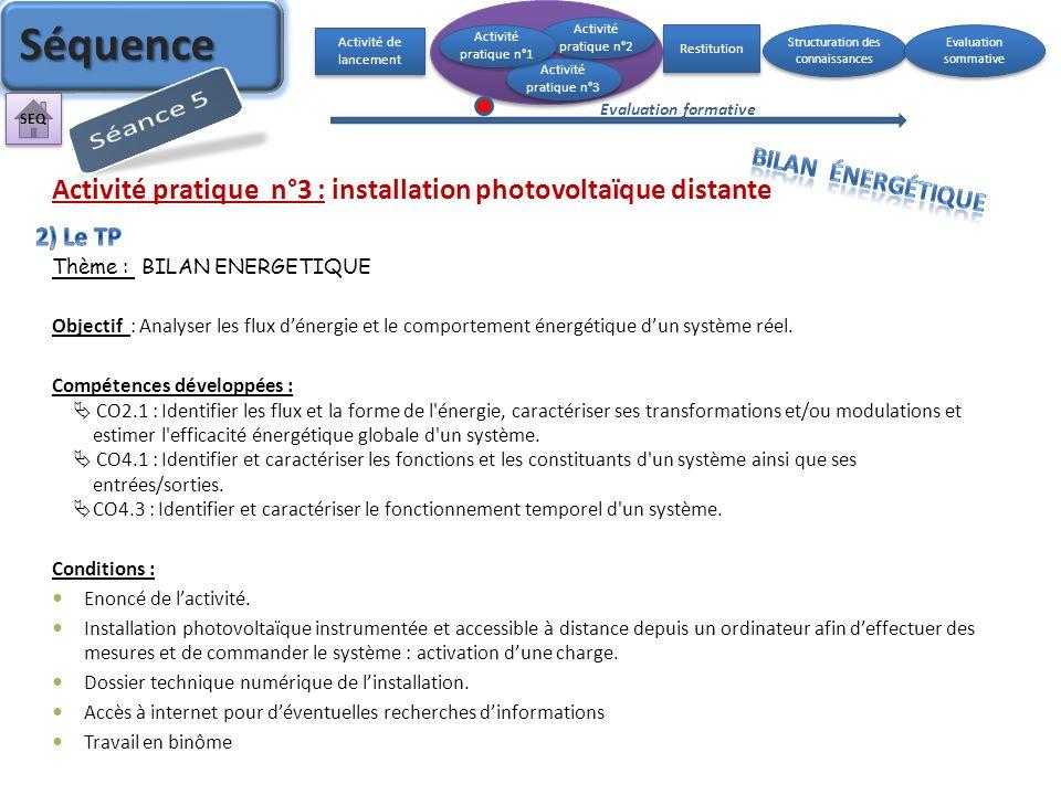 Activité pratique n°3 : installation photovoltaïque distante Thème : BILAN ENERGETIQUE Objectif : Analyser les flux dénergie et le comportement énergé