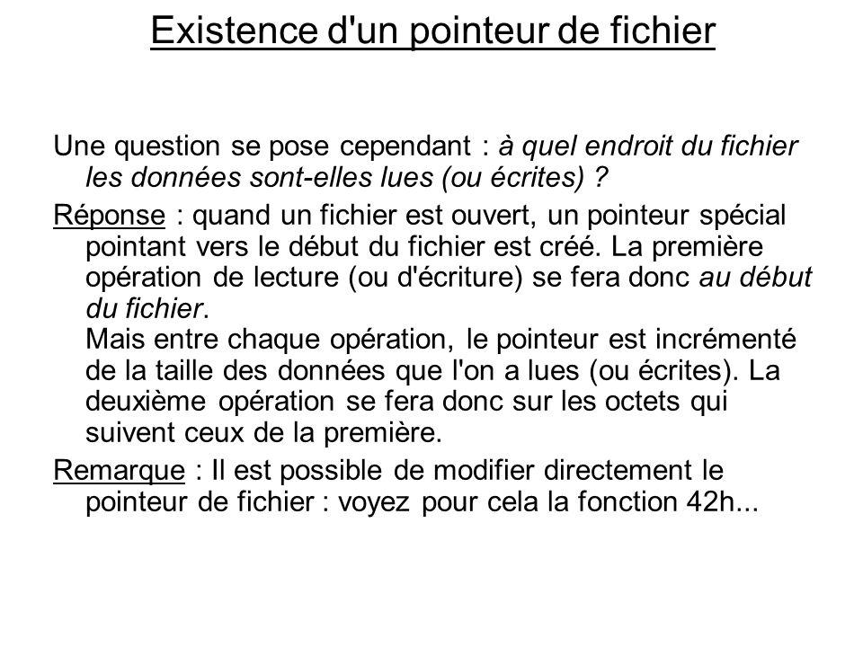Existence d un pointeur de fichier Une question se pose cependant : à quel endroit du fichier les données sont-elles lues (ou écrites) .