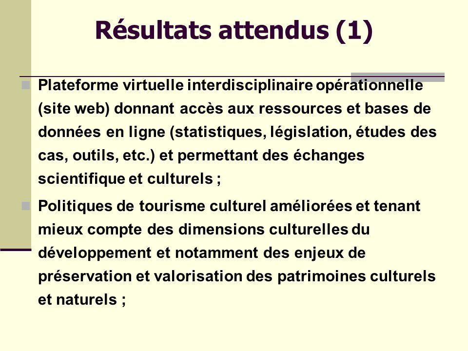 Résultats attendus (1) Plateforme virtuelle interdisciplinaire opérationnelle (site web) donnant accès aux ressources et bases de données en ligne (statistiques, législation, études des cas, outils, etc.) et permettant des échanges scientifique et culturels ; Politiques de tourisme culturel améliorées et tenant mieux compte des dimensions culturelles du développement et notamment des enjeux de préservation et valorisation des patrimoines culturels et naturels ;