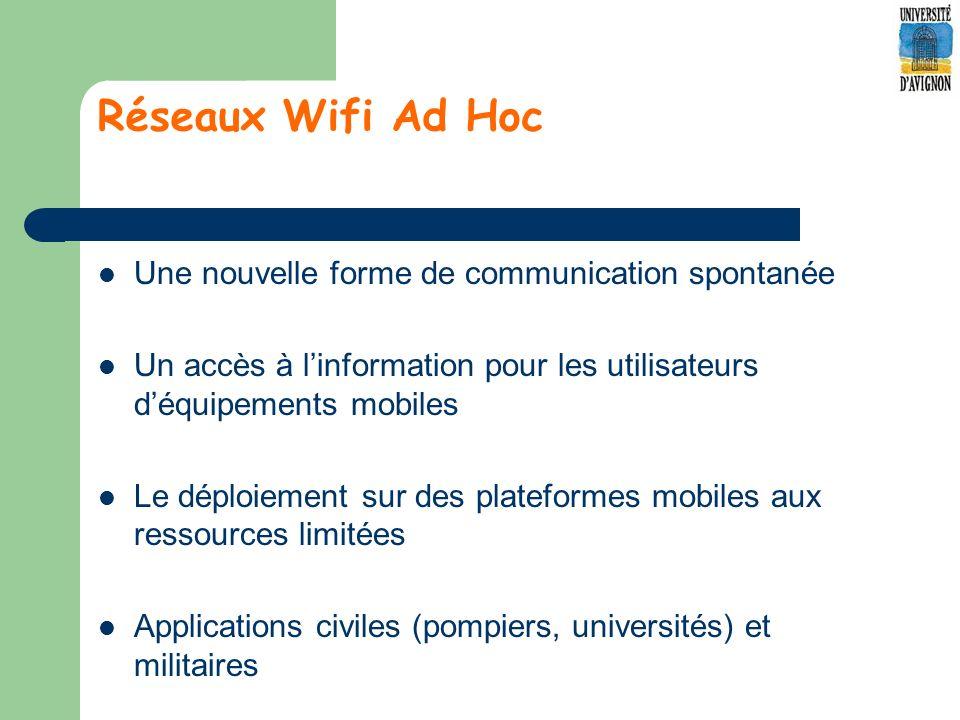 Réseaux Wifi Ad Hoc Une nouvelle forme de communication spontanée Un accès à linformation pour les utilisateurs déquipements mobiles Le déploiement sur des plateformes mobiles aux ressources limitées Applications civiles (pompiers, universités) et militaires