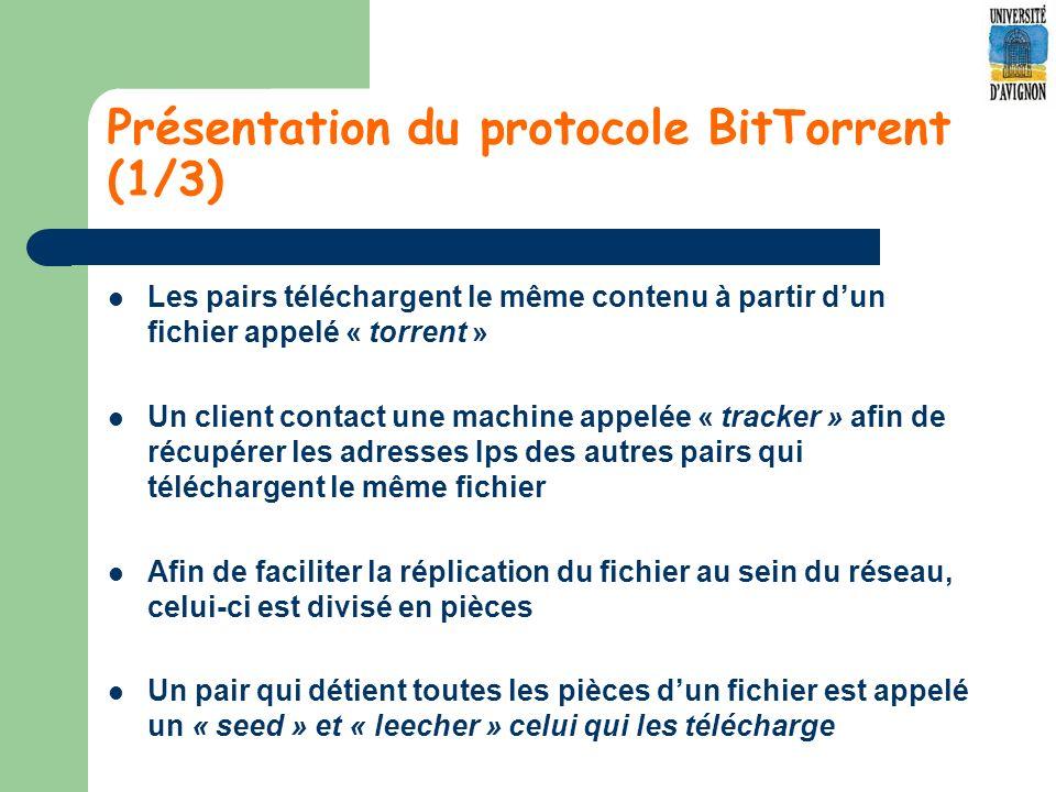 Présentation du protocole BitTorrent (1/3) Les pairs téléchargent le même contenu à partir dun fichier appelé « torrent » Un client contact une machine appelée « tracker » afin de récupérer les adresses Ips des autres pairs qui téléchargent le même fichier Afin de faciliter la réplication du fichier au sein du réseau, celui-ci est divisé en pièces Un pair qui détient toutes les pièces dun fichier est appelé un « seed » et « leecher » celui qui les télécharge
