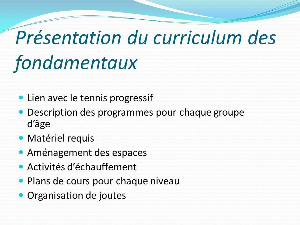 Présentation du curriculum des fondamentaux Lien avec le tennis progressif Description des programmes pour chaque groupe dâge Matériel requis Aménagem
