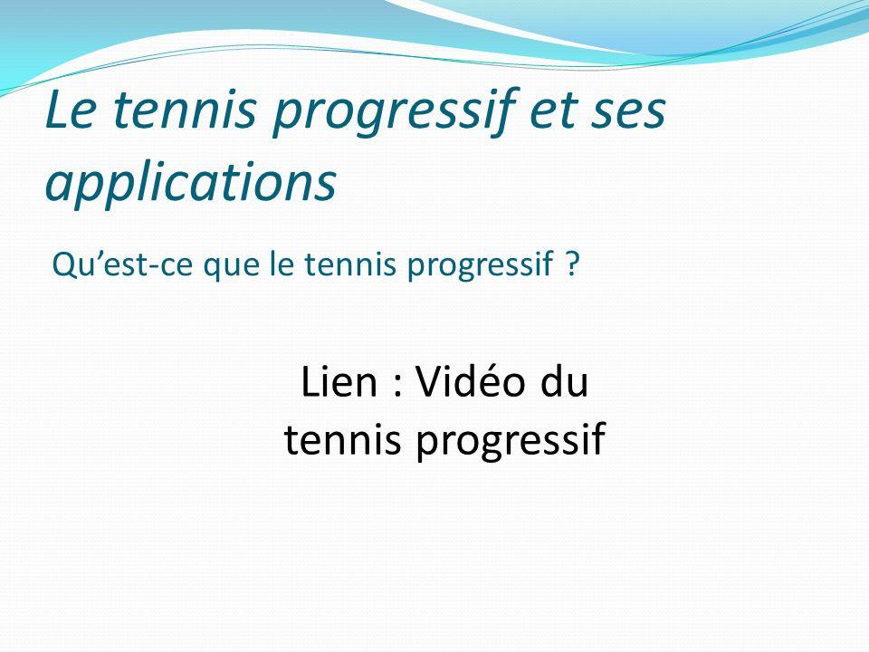 Le tennis progressif et ses applications Quest-ce que le tennis progressif ? Lien : Vidéo du tennis progressif