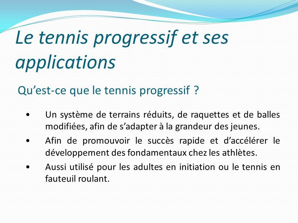 Le tennis progressif et ses applications Quest-ce que le tennis progressif ? Un système de terrains réduits, de raquettes et de balles modifiées, afin