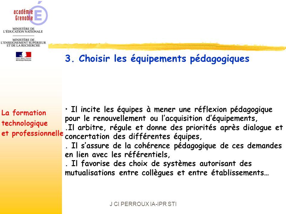 J Cl PERROUX IA-IPR STI Il incite les équipes à mener une réflexion pédagogique pour le renouvellement ou lacquisition déquipements,.Il arbitre, régule et donne des priorités après dialogue et concertation des différentes équipes,.