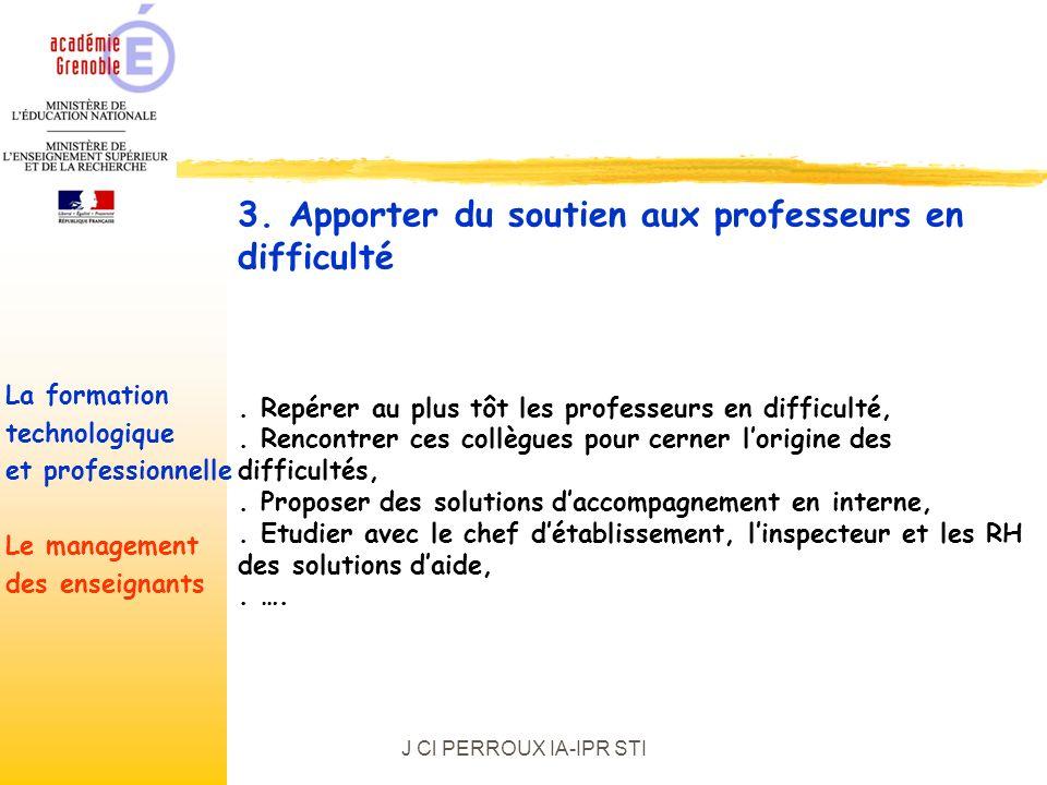 J Cl PERROUX IA-IPR STI. Repérer au plus tôt les professeurs en difficulté,.