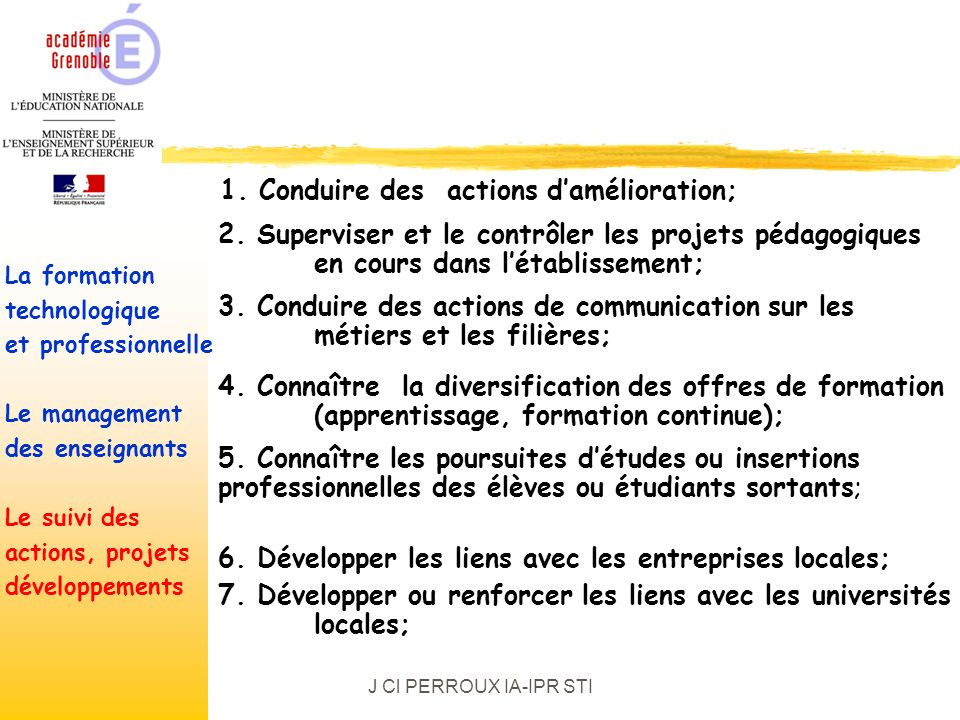 J Cl PERROUX IA-IPR STI La formationtechnologiqueet professionnelleLe managementdes enseignantsLe suivi desactions, projetsdéveloppements 1.