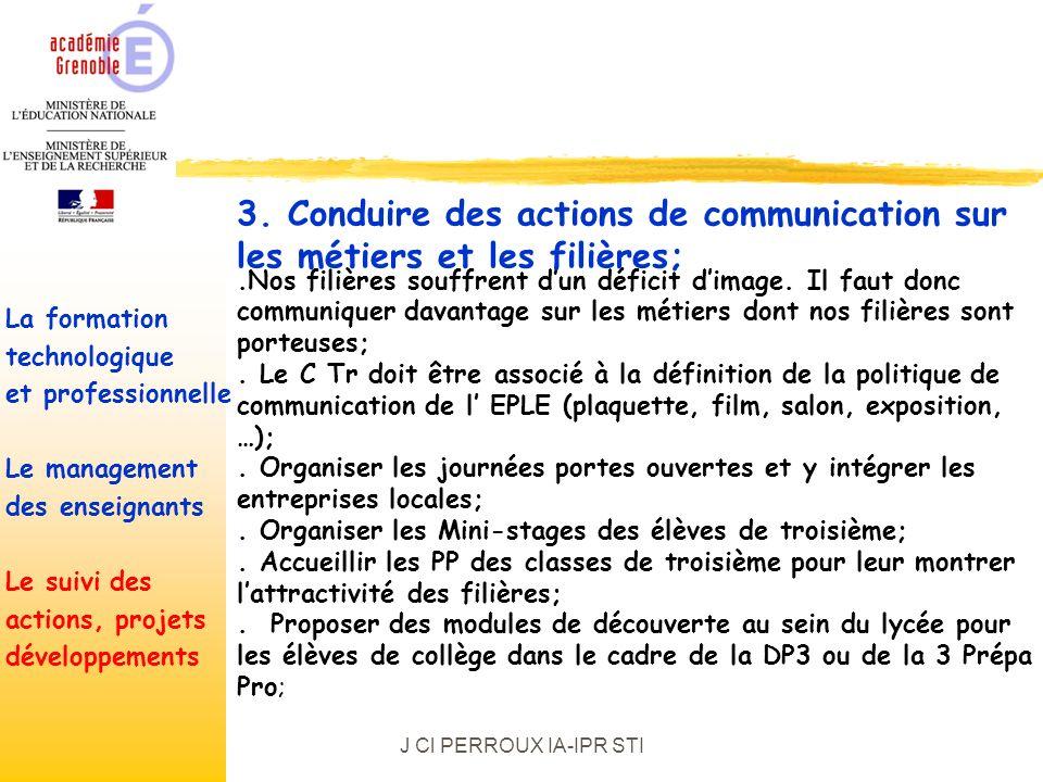 J Cl PERROUX IA-IPR STI.Nos filières souffrent dun déficit dimage.