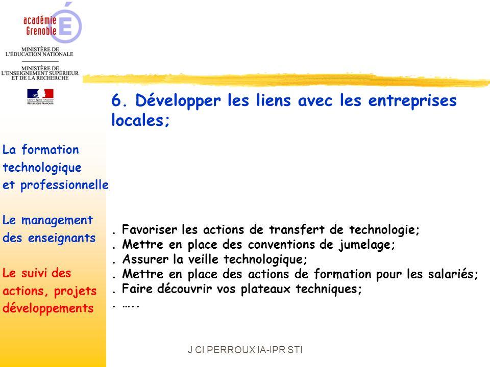 J Cl PERROUX IA-IPR STI. Favoriser les actions de transfert de technologie;.
