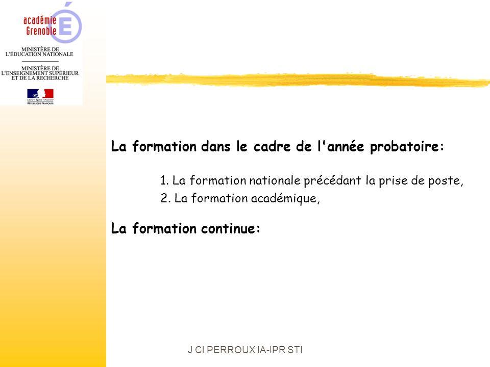 J Cl PERROUX IA-IPR STI La formation dans le cadre de l année probatoire: 1.