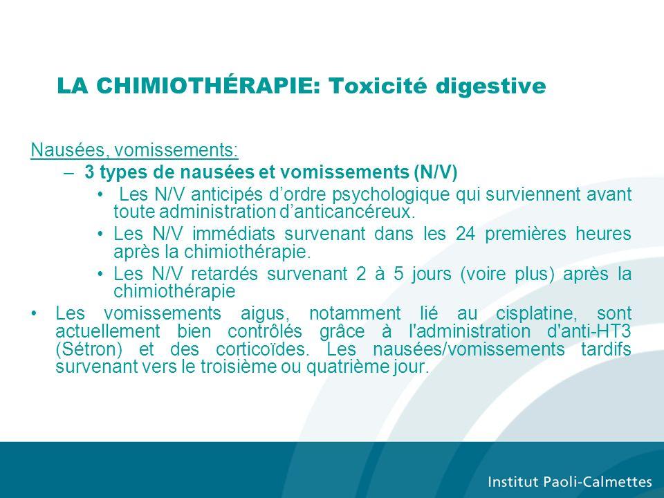 LA CHIMIOTHÉRAPIE: Toxicité digestive Nausées, vomissements: –3 types de nausées et vomissements (N/V) Les N/V anticipés dordre psychologique qui surviennent avant toute administration danticancéreux.