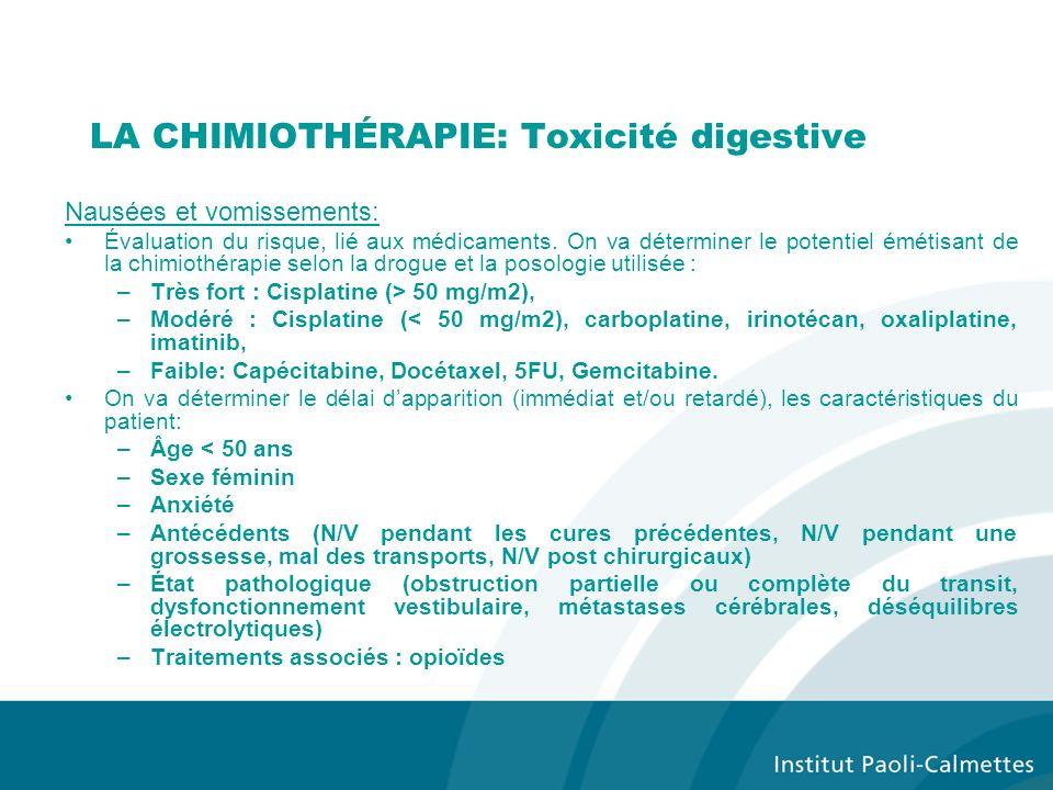 LA CHIMIOTHÉRAPIE: Toxicité digestive Nausées et vomissements: Évaluation du risque, lié aux médicaments.