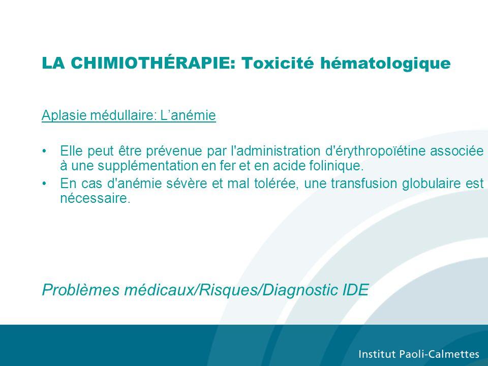 Aplasie médullaire: Lanémie Elle peut être prévenue par l administration d érythropoïétine associée à une supplémentation en fer et en acide folinique.