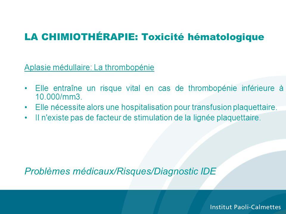LA CHIMIOTHÉRAPIE: Toxicité hématologique Aplasie médullaire: La thrombopénie Elle entraîne un risque vital en cas de thrombopénie inférieure à 10.000/mm3.