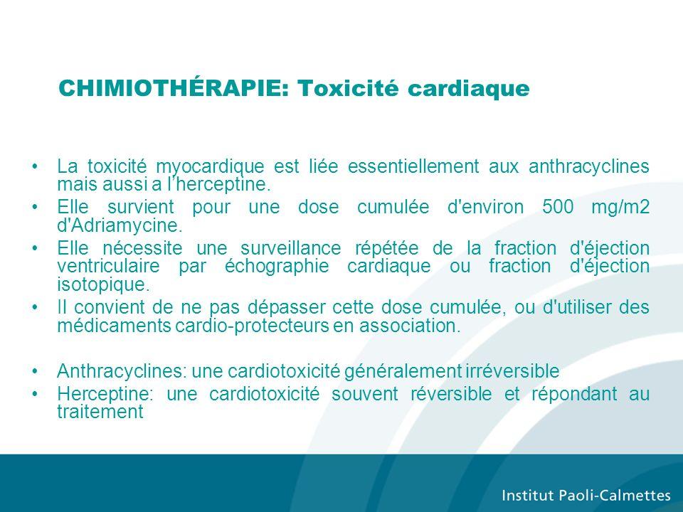 CHIMIOTHÉRAPIE: Toxicité cardiaque La toxicité myocardique est liée essentiellement aux anthracyclines mais aussi a lherceptine.