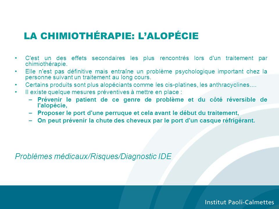 LA CHIMIOTHÉRAPIE: LALOPÉCIE C est un des effets secondaires les plus rencontrés lors d un traitement par chimiothérapie.