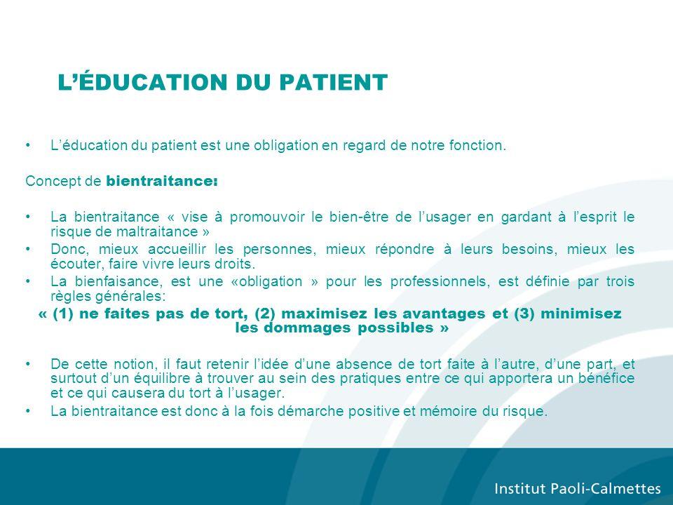 LÉDUCATION DU PATIENT Léducation du patient est une obligation en regard de notre fonction.