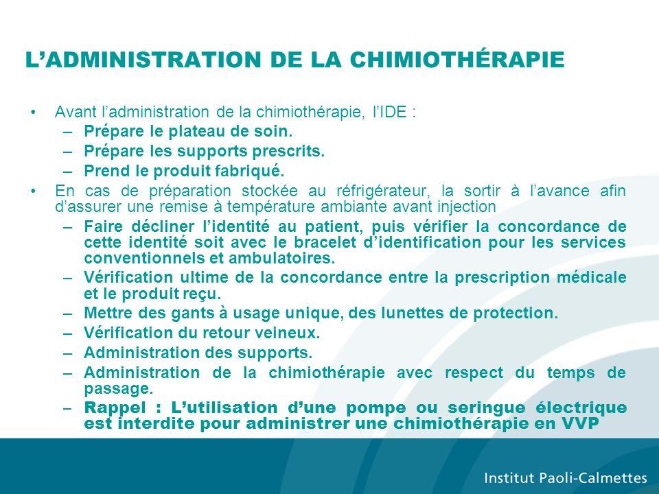 LADMINISTRATION DE LA CHIMIOTHÉRAPIE Avant ladministration de la chimiothérapie, lIDE : –Prépare le plateau de soin.