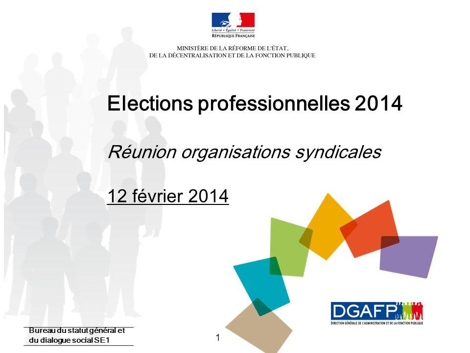1 Elections professionnelles 2014 Réunion organisations syndicales 12 février 2014 Bureau du statut général et du dialogue social SE1