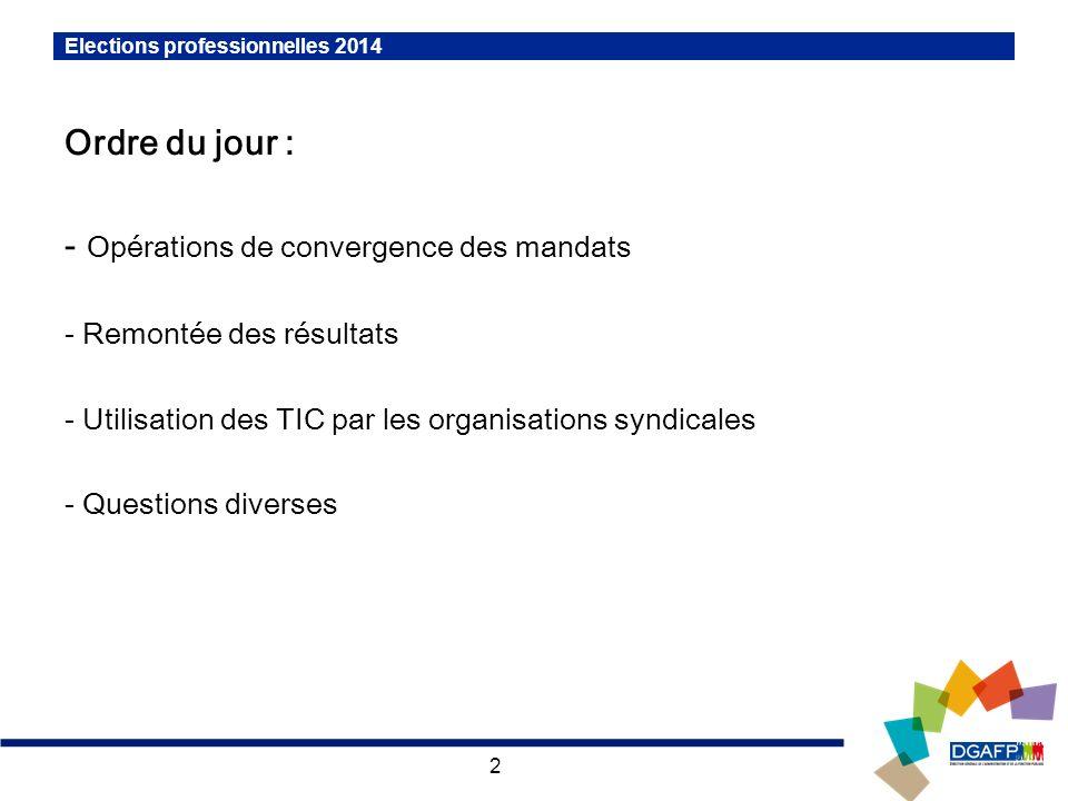 2 Elections professionnelles 2014 Ordre du jour : - Opérations de convergence des mandats - Remontée des résultats - Utilisation des TIC par les organ