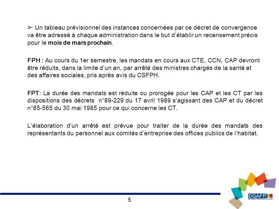 5 Un tableau prévisionnel des instances concernées par ce décret de convergence va être adressé à chaque administration dans le but détablir un recens