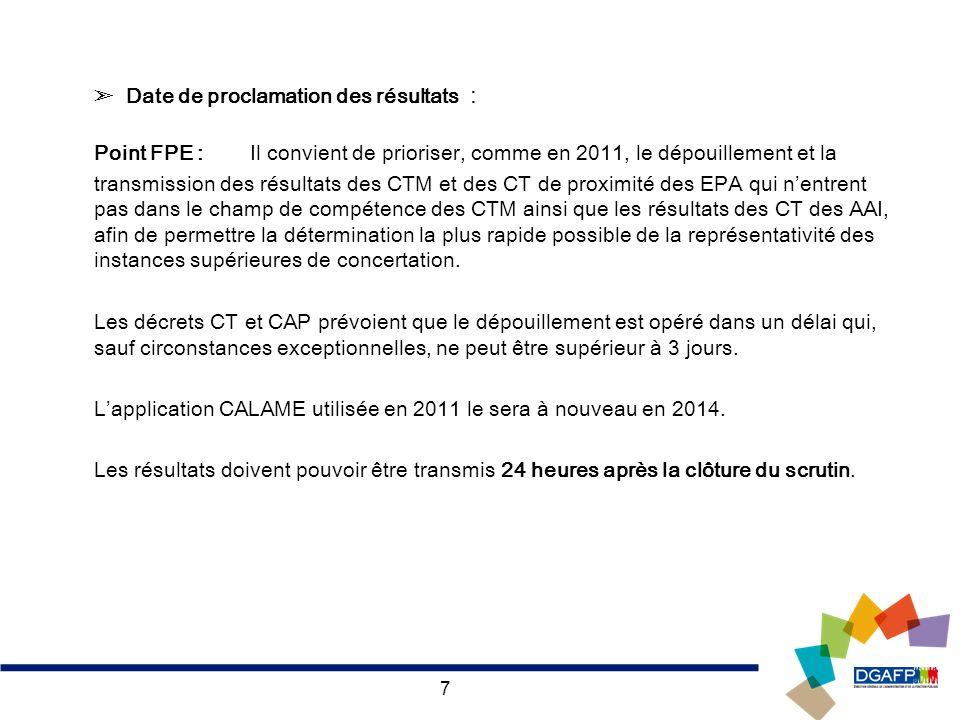 7 Date de proclamation des résultats : Point FPE : Il convient de prioriser, comme en 2011, le dépouillement et la transmission des résultats des CTM
