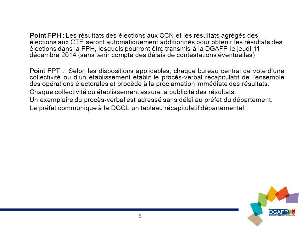 8 Point FPH : Les résultats des élections aux CCN et les résultats agrégés des élections aux CTE seront automatiquement additionnés pour obtenir les r