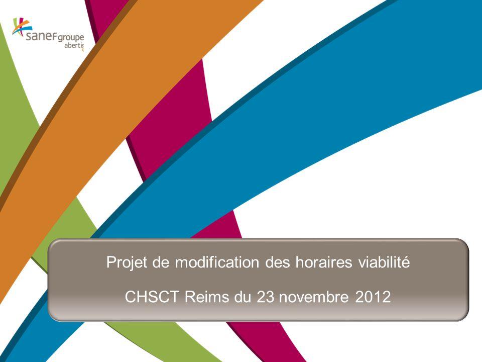 Titre de la présentation Projet de modification des horaires viabilité CHSCT Reims du 23 novembre 2012