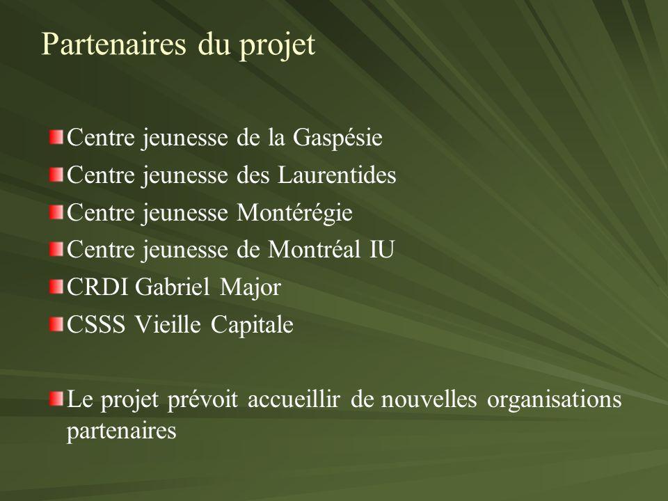 Centre jeunesse de la Gaspésie Centre jeunesse des Laurentides Centre jeunesse Montérégie Centre jeunesse de Montréal IU CRDI Gabriel Major CSSS Vieille Capitale Le projet prévoit accueillir de nouvelles organisations partenaires Partenaires du projet