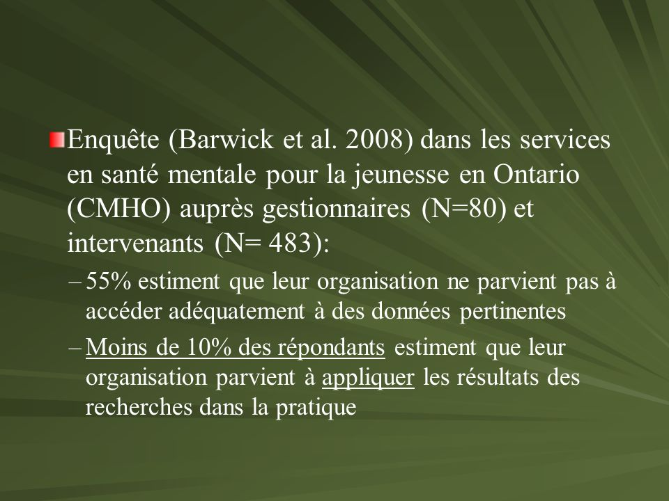 Enquête (Barwick et al.