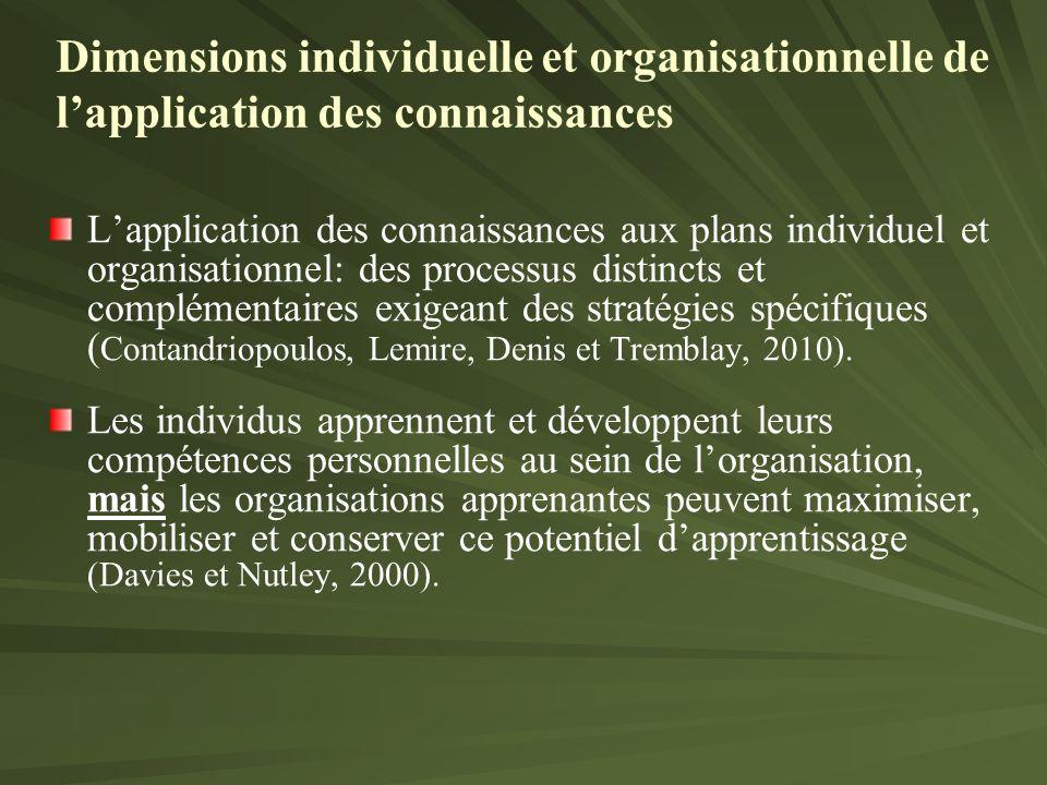 Lapplication des connaissances aux plans individuel et organisationnel: des processus distincts et complémentaires exigeant des stratégies spécifiques ( Contandriopoulos, Lemire, Denis et Tremblay, 2010).