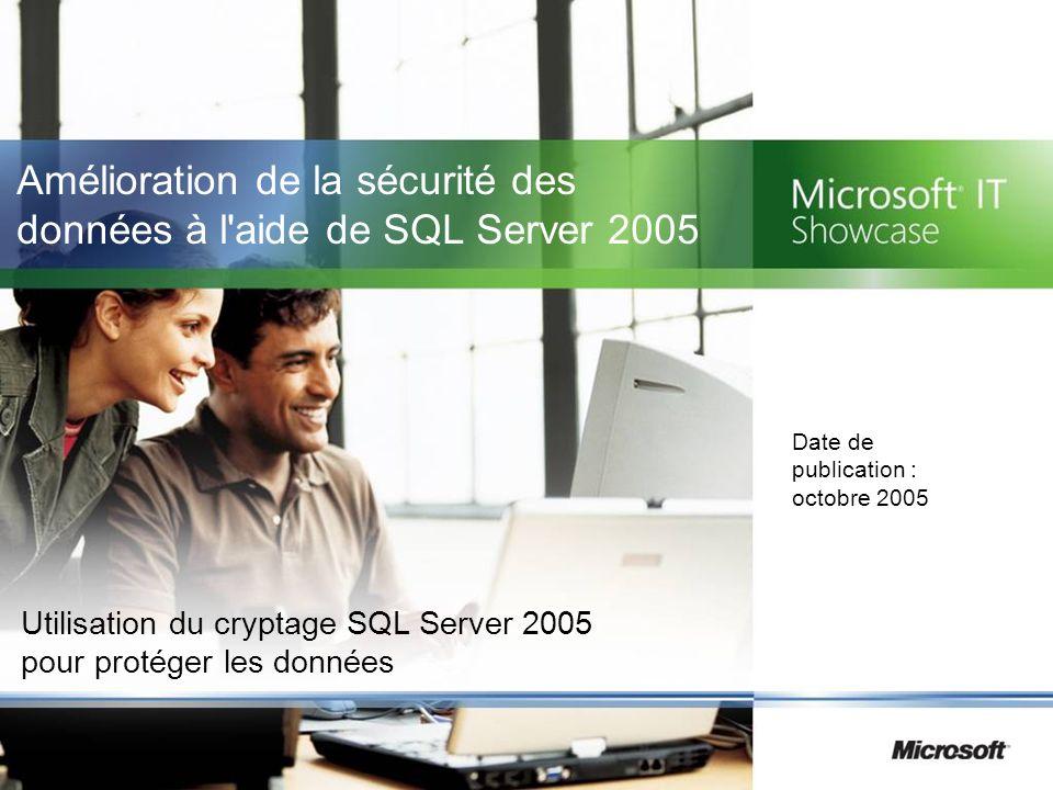 Amélioration de la sécurité des données à l aide de SQL Server 2005 Utilisation du cryptage SQL Server 2005 pour protéger les données Date de publication : octobre 2005